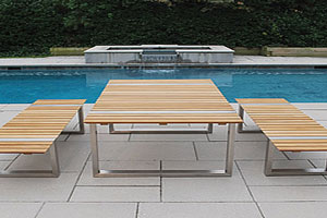 Teak and Stainless Steel Outdoor Furniture Combo