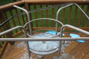 Shattered Tempered Glass Patio Table