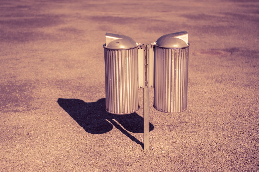 Only two old trashcans