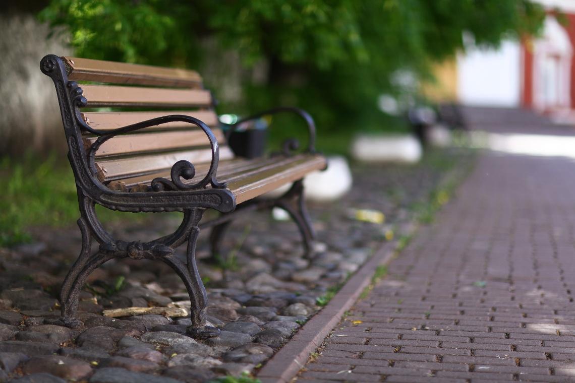outdoor bench in city